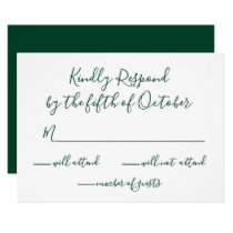 Monogrammed Gold Crest and Green Wedding rsvp Card