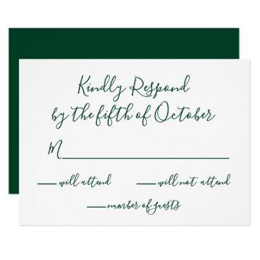 Monogrammed Gold Crest and Green Wedding rsvp Card