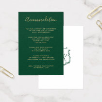 Monogrammed Gold Crest Green accommodation cards