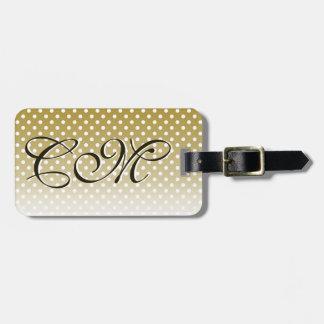 Monogrammed Gold Dot Design Bag Tag