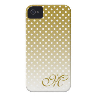 Monogrammed Gold Dot Design iPhone 4 Case-Mate Case