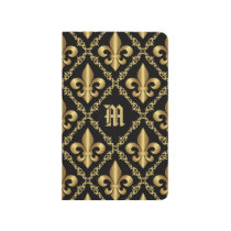 Monogrammed Gold Fleur-de-Lis Pattern Journal