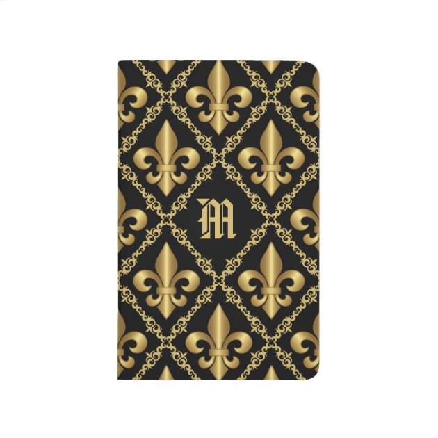 Studio Dalio - Monogrammed Gold Fleur-de-Lis Pattern Journal