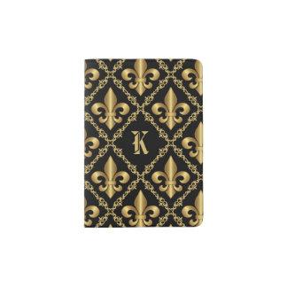 Monogrammed Gold Fleur-de-Lis Pattern Passport Holder