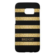 Monogrammed Gold Glitter Black Stripes Pattern Samsung Galaxy S7 Case