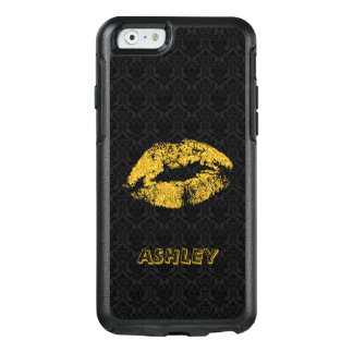 Monogrammed Gold Glitter Lips And Black Damask OtterBox iPhone 6/6s Case