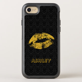 Monogrammed Gold Glitter Lips And Black Damask OtterBox Symmetry iPhone 8/7 Case