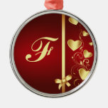 Monogrammed Gold Love Hearts and Flourishes Round Metal Christmas Ornament