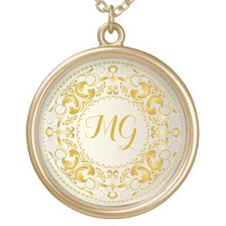 Monogrammed Gold Medallion - Necklace