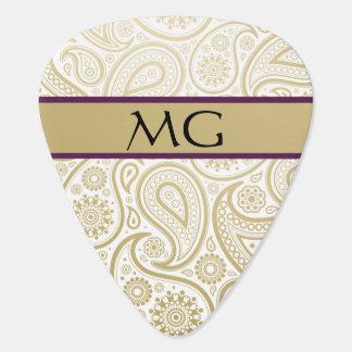 Monogrammed Gold Paisley 2 - Guitar Pick