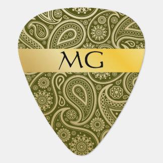 Monogrammed Gold Paisley 4D - Guitar Pick