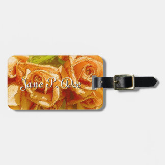 Monogrammed Gold & Peach Roses Luggage Tag