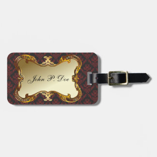 Monogrammed Gold & Red Damask Luggage Tag