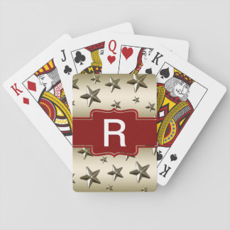 Monogrammed Gold Shiny Stars Playing Cards