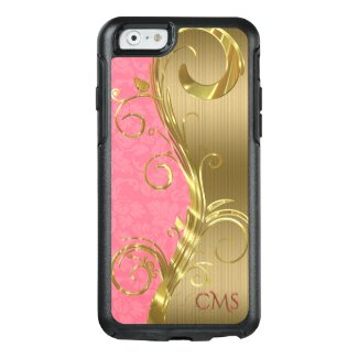 Monogrammed Gold Stripes And Pink Damask