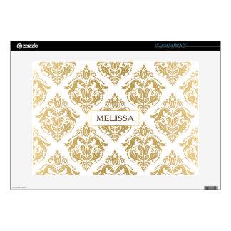 Monogrammed Gold Tones Floral Damasks Pattern Laptop Decal