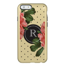 Monogrammed Gold Vintage Rose and Black Polka Dots Incipio Feather® Shine iPhone 6 Case
