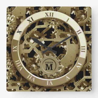 Monogrammed Golden Clock Gears Roman Numerals