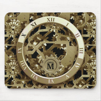 Monogrammed Golden Clock Gears Roman Numerals Mouse Pad