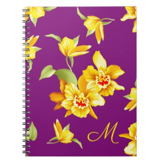 Monogrammed Golden Daffodils on Purple Notebook