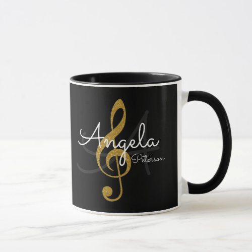 monogrammed golden treble clef music black mug