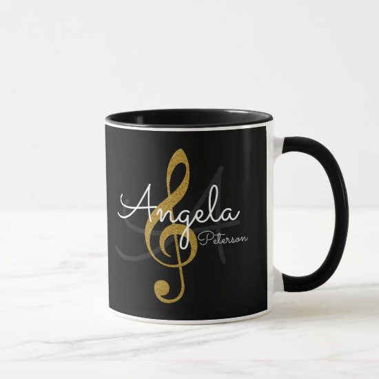 monogrammed golden treble clef, music black mug