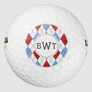 Monogrammed Golf Balls | Blue Red Argyle Pattern