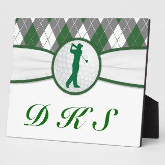 Monogrammed golf plaid photo plaque