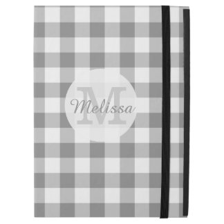 Monogrammed Gray And White Gingham Check iPad Pro Case