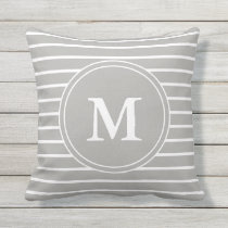 Monogrammed Gray and White Striped Pattern Outdoor Pillow