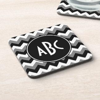 Monogrammed Gray Black and White Zigzag Coaster