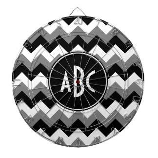 Monogrammed Gray Black and White Zigzag Dart Board
