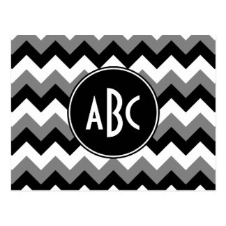 Monogrammed Gray Black and White Zigzag Postcards