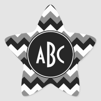 Monogrammed Gray Black and White Zigzag Star Sticker