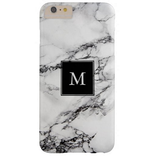 Monogrammed Gray Marble Stone Black