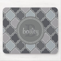 Monogrammed Gray Modern Lattice Pattern Mouse Pad