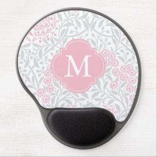 Monogrammed Gray Pink Floral Damask Pattern Gel Mouse Pad