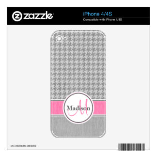 Monogrammed Gray Pink Houndstooth Pattern Decals For The iPhone 4S