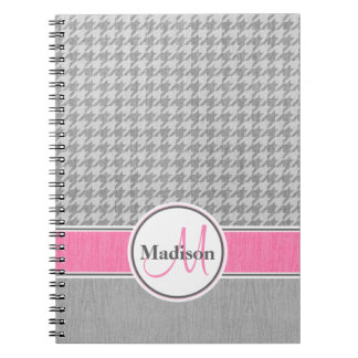 Monogrammed Gray Pink Houndstooth Pattern Notebook