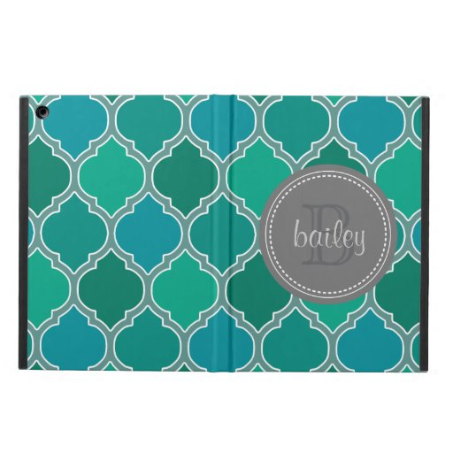 Monogrammed Gray Teal Modern Lattice Pattern iPad Air Cover