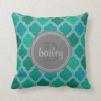 Monogrammed Gray Teal Modern Lattice Pattern Throw Pillow