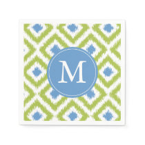 Monogrammed Green and Blue Ikat Diamonds Pattern Paper Napkin