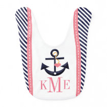 MONOGRAMMED GREEN AND NAVY ANCHOR HEART BABY BIB