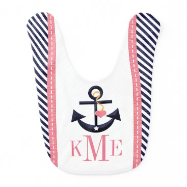 Beach Themed MONOGRAMMED GREEN AND NAVY ANCHOR HEART BABY BIB