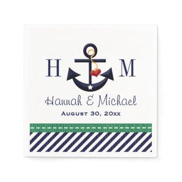 Beach Themed Monogrammed Green and Navy Anchor Nautical Wedding Napkin