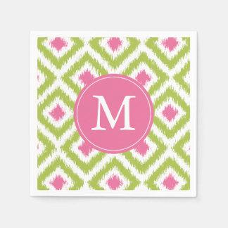 Monogrammed Green and Pink Ikat Diamonds Pattern Napkin