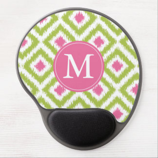 Monogrammed Green and Pink Ikat Pattern Gel Mouse Pad