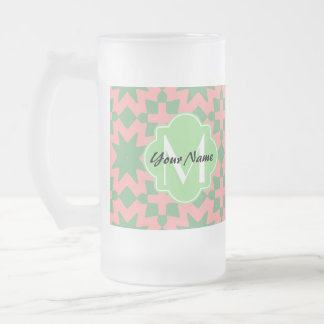 Monogrammed Green and Pink Stylish Chic Pattern Frosted Glass Beer Mug