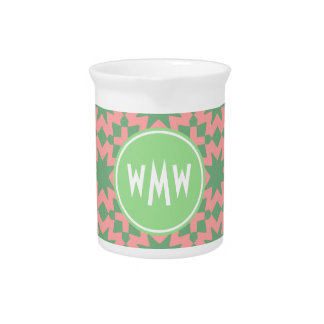 Monogrammed Green and Pink Stylish Chic Pattern Drink Pitchers