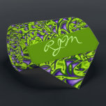 """Monogrammed Green and Purple Paisley Tie<br><div class=""""desc"""">A bit retro yet contemporary,  bold yet business like,  that&#39;s what this tie offers. Rich purple and green hues with your monogram to make a powerful statement with your wardrobe.</div>"""